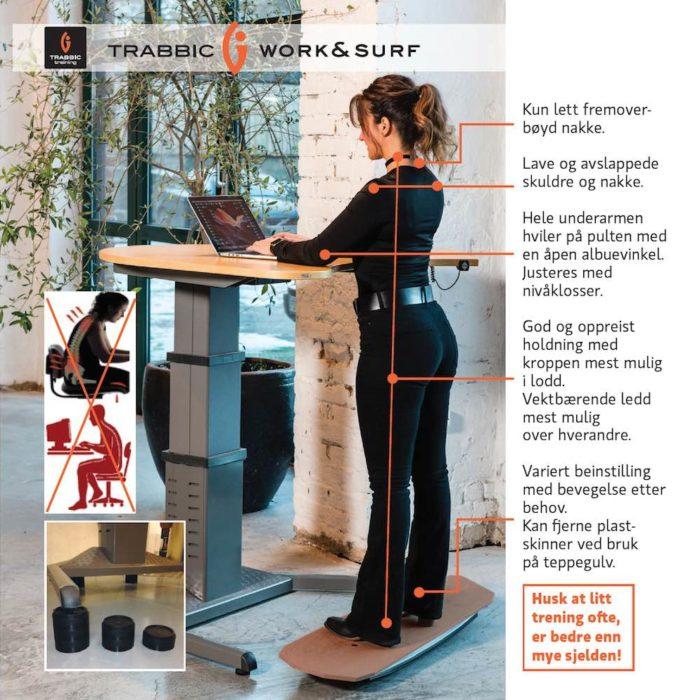 Trabbic Work & Surf - balansebrett / ståbrett til hev senk bord - se alle fordelene